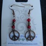 Peace Sign Earrings - Pink
